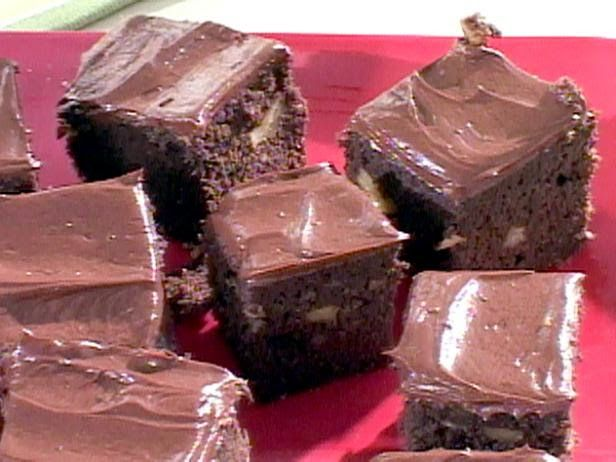 Low Carb Double Chocolate Walnut Brownies Recipe Desserts with wheat bran, soya flour, unsweetened baking chocolate, unsalted butter, sugar substitute, heavy cream, large eggs, vanilla extract, baking powder, chopped walnuts, chocolate frosting, unsalted butter, unsweetened cocoa powder, sugar substitute, heavy cream, vanilla extract, hot water