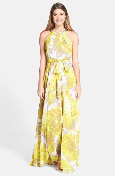 Eliza J Beaded Print Chiffon Maxi Dress available at #Nordstrom