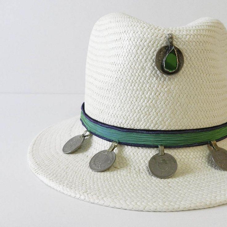 Sombrero panamá seda verde frontal