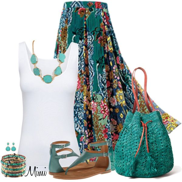 """Candida"" teal and white summer outfit"