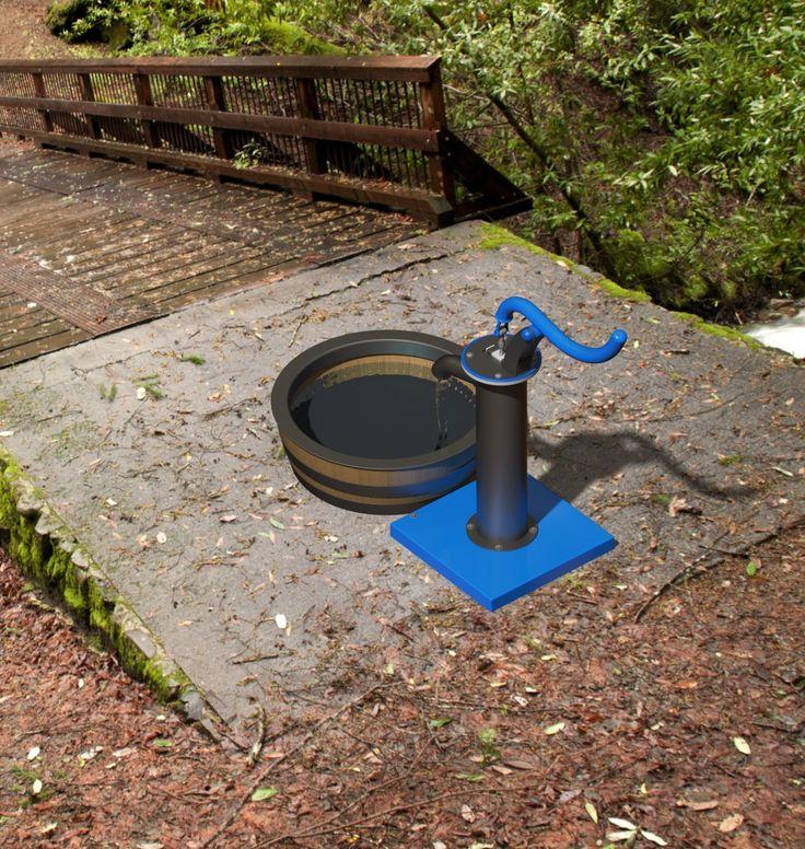 Water pump with wine barrel