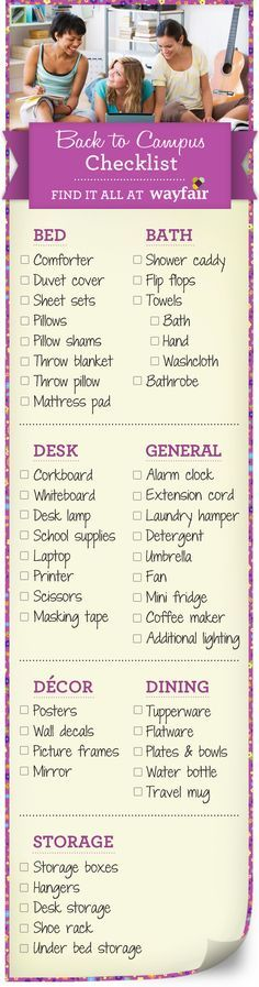 College Dorm Checklist I will probably need this next year