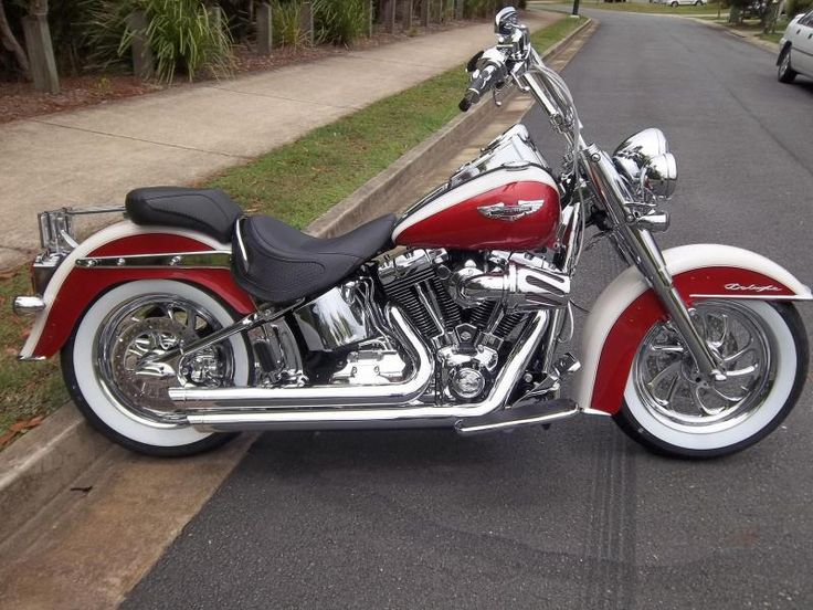 harley davidson deluxe with sunburst red u0026 birch white paint chrome pipes u0026 white wall tires