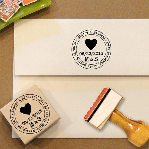 Heart Custom Address Stamp for Save the Dates & Wedding Invitations. $28.00, via Etsy.