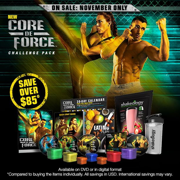 CORE DE FORCE Challenge Pack Promo Essentials  Beachbody Challenge Packs are the complete package, offering total support for achieving health and fitness goals. The formula? Fitness + Nutrition + Support = Success. There are three CORE DE FORCE Challenge Packs to help you get knockout results and come with our no-risk, 30-day money back guarantee.