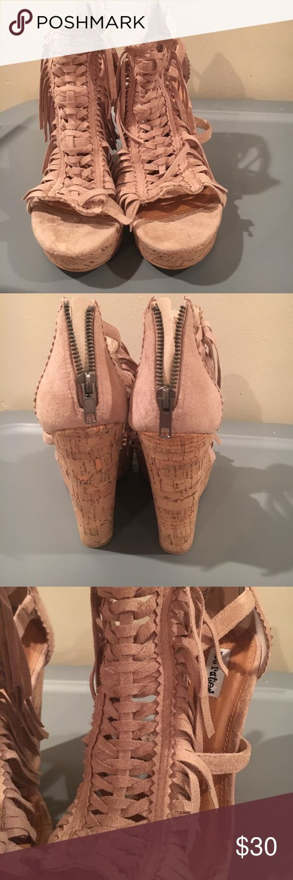 "Not Rated Cork wedges with tan fringe size 8 Not Rated wedges from Buckle with cork and tan fringe. Zipper back. Size 8. Brand new without tags. Never worn. Heels 4.5"" Not Rated Shoes Wedges"
