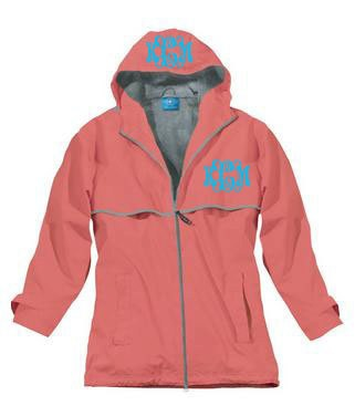 CORAL MONOGRAMMED Rain JACKET - Monogrammed Rain Coat - Monogrammed Hood. $50.00, via Etsy.
