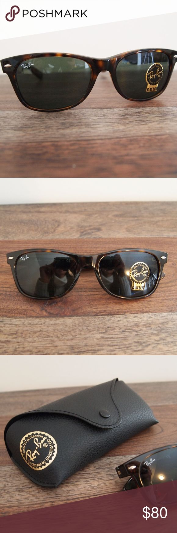 Ray-Ban Wayfarer Sunglasses •	New, with box, Authentic •	Never worn •	RB2132 •	Color: Tortoise/Brown •	Eye/Bridge/Temple Size: 55/18/145  •	Lens Material: glass/plastic •	Comes with/in original box and sunglasses case, with cleaner still in the plastic bag Ray-Ban Accessories Sunglasses