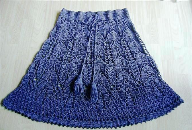 Темно-синяя юбка крючком
