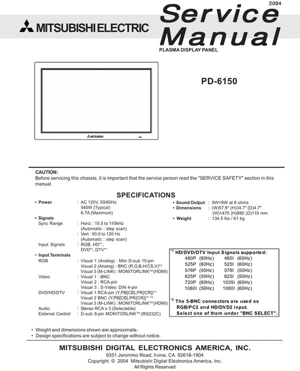 13 best mitsubishi service manuals images on pinterest manual mitsubishi pd 6150 plasma service manual manualpdftextbookuser guide fandeluxe Images