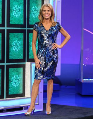 CACHE: Dark blue, turquoise, silver, black sequin cocktail dress in abstract swirl pattern, v-neckline, short sleeves, sheath style | Vanna White's dresses | Wheel of Fortune