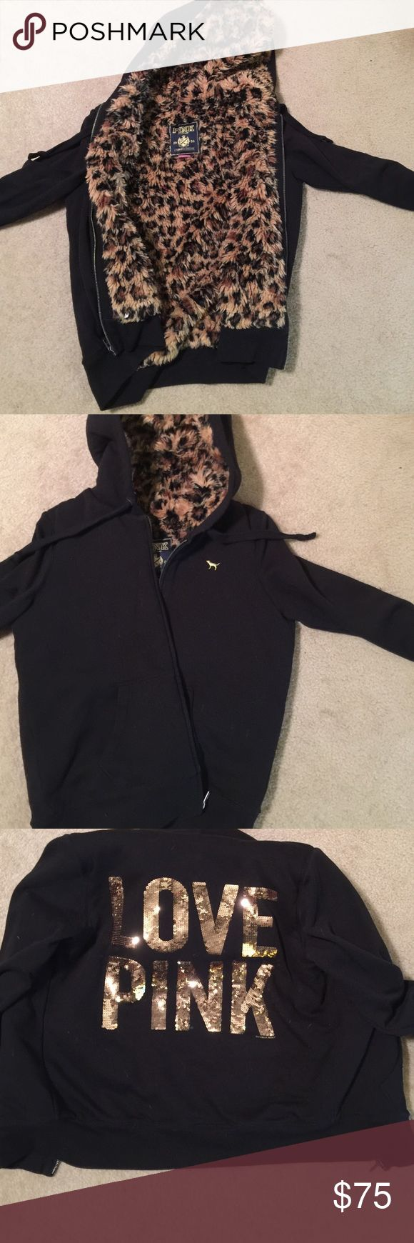 Victoria Secret jacket Gently used Victoria Secret jacket. This heavy duty jacket is lined with warm animal print. Zip up with drawstring hoodie. Smoke free home. All sequins are intact PINK Victoria's Secret Jackets & Coats