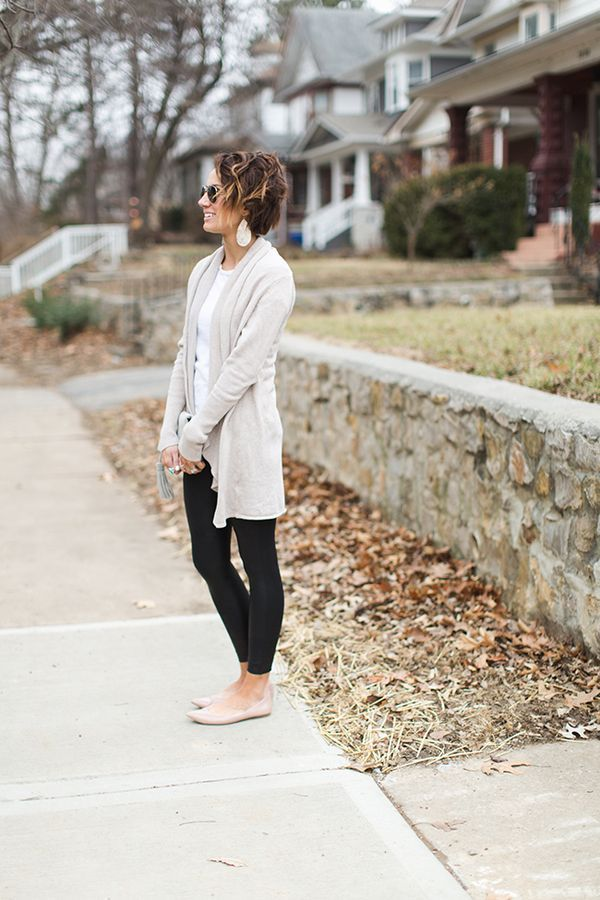 cardigan, leather leggings, nude flats, spanx, white tee, leather earrings