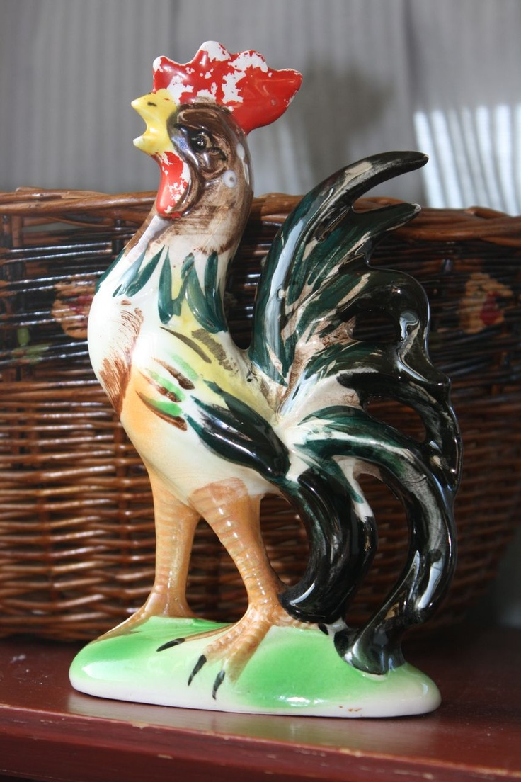 Rooster Decor In Living Room: Vintage Ceramic Rooster Figure, Hand Painted, Perfect For