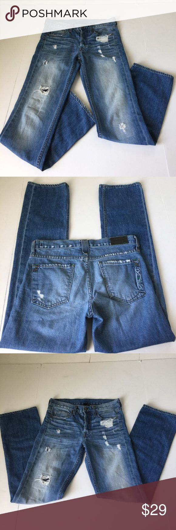 Genetic Denim The Ryder Distressed Boy Jeans, 25 Genetic Denim The Ryder Distressed Boy Jeans in size 25. Color is Ol' Vintage, a mid wash blue with factory fading, whispering and distress. Flat lay measure of the waist is approximately 15.5, rise is approximately 9.25, inseam is approximately 30 and leg opening is approximately 7.75. Made from 98% cotton and 2% elastin. Please look at all photos and ask if you have any questions. Genetic Denim Jeans Boyfriend