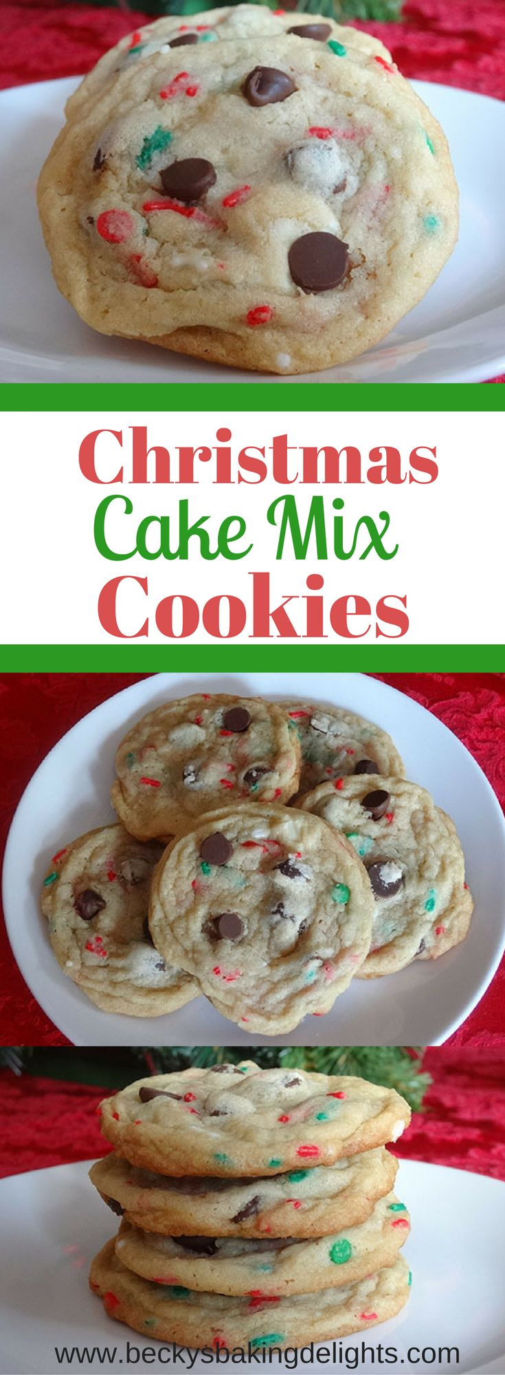 These Christmas cake mix cookies combined with a triple chocolate chip cookie are soft, chewy and delicious. Holiday colored sprinkles add to the festive nature of this cookie.