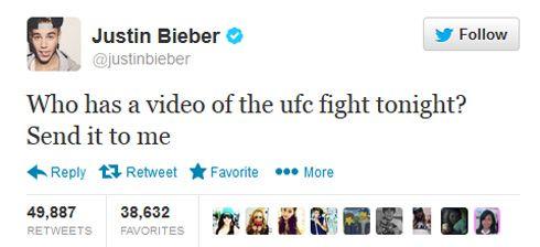 Justin Bieber: Send Me a Pirate Copy of UFC Event