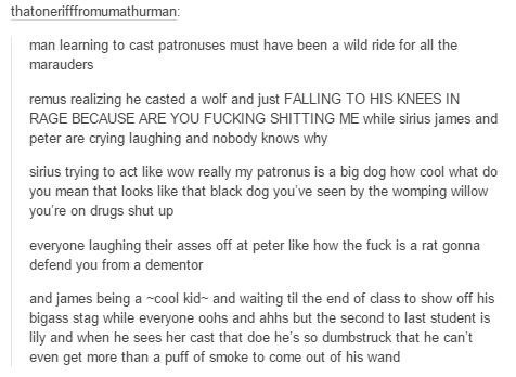Yeah, but what if Snape does his right after James and everyone cracks up because Snape's patronus is Doe while James's is a Stag and James and Snape stare at each other, completely horrified.