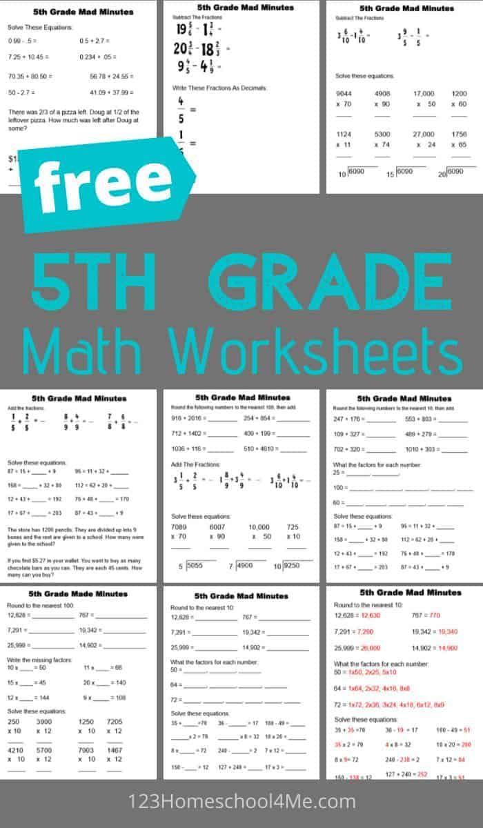 Free 5th Grade Math Worksheets 5th Grade Worksheets Fifth Grade Math 5th Grade Math [ 1200 x 700 Pixel ]