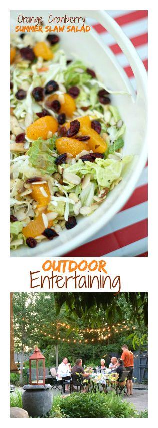 Outdoor Entertaining with Orange Cranberry Summer Slaw Salad
