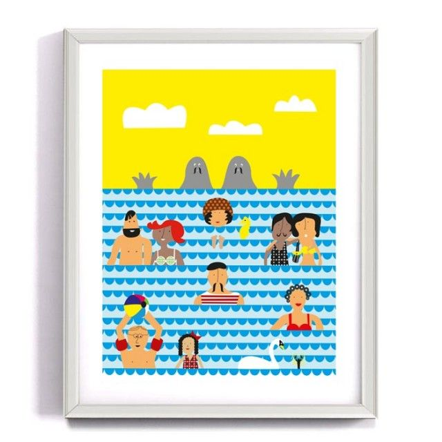 On vacation, poster by Forma Nova #nordicdesigncollective #formanova #summer #hellosummer hello #sky #clous #sea #ocean #lake #swim #bath #play #swimsuit #colour #color #colorful #colourful #swan #wave #waves #beard #mustache #poster #print #kidsroom #childrensroom #kids #children