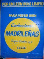 Chapa de metal publicidad Confe. Madrileñas de LEON, calle Legión Condor Guerra Civil ver mas fotos