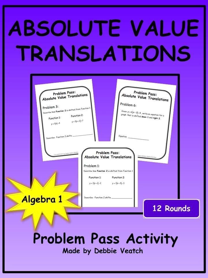 Great practice or review to write absolute value equations in vertex form given specific horizontal and vertical shifts AND to describe the horizontal and vertical shifts of absolute value functions from absolute value equations in vertex form.
