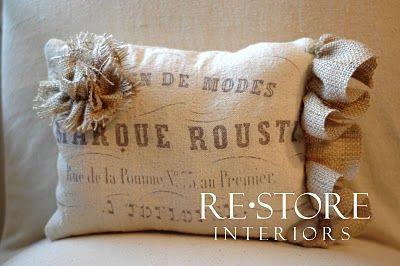 Burlap flower tutorial: Burlap Flowers, Cute Pillows, Rosette Tutorials, Burlap Pillows, Burlap Rosettes, Printing On Fabric, Restoration Interiors, Flowers Tutorials, Drop Clothing