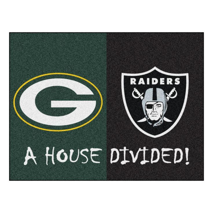 NFL Packers / Raiders Green House Divided 2 ft. 10 in. x 3 ft. 9 in. Accent Rug, Green/Black