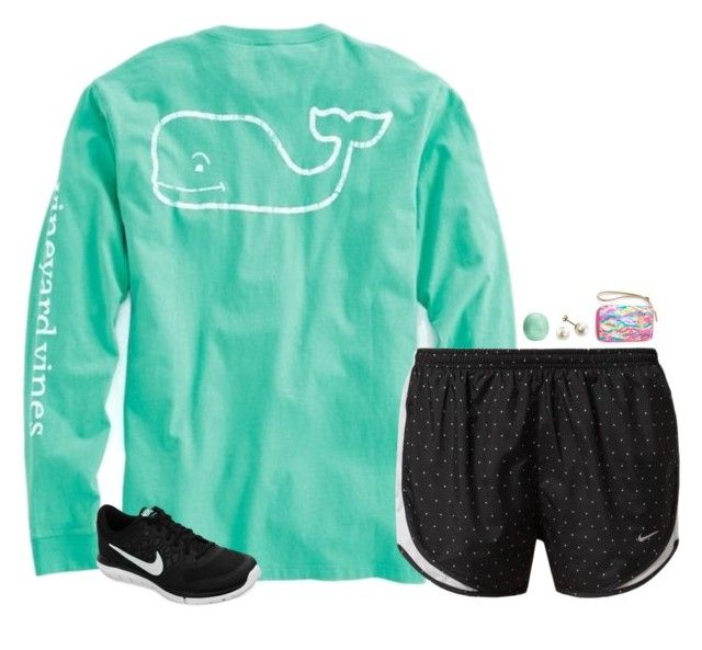 """pretty sure I need these shorts"" by gourney ❤ liked on Polyvore featuring Vineyard Vines, NIKE, Eos and Lilly Pulitzer"