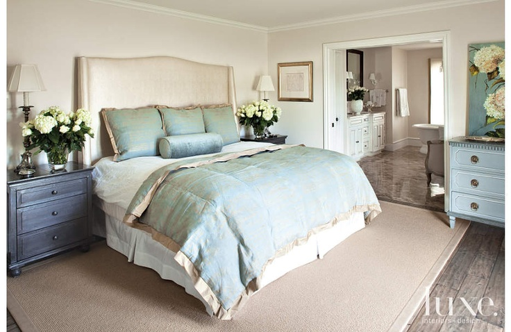Restoration Hardware Nightstands Flank A Custom Headboard In This Feminine Master Bedroom