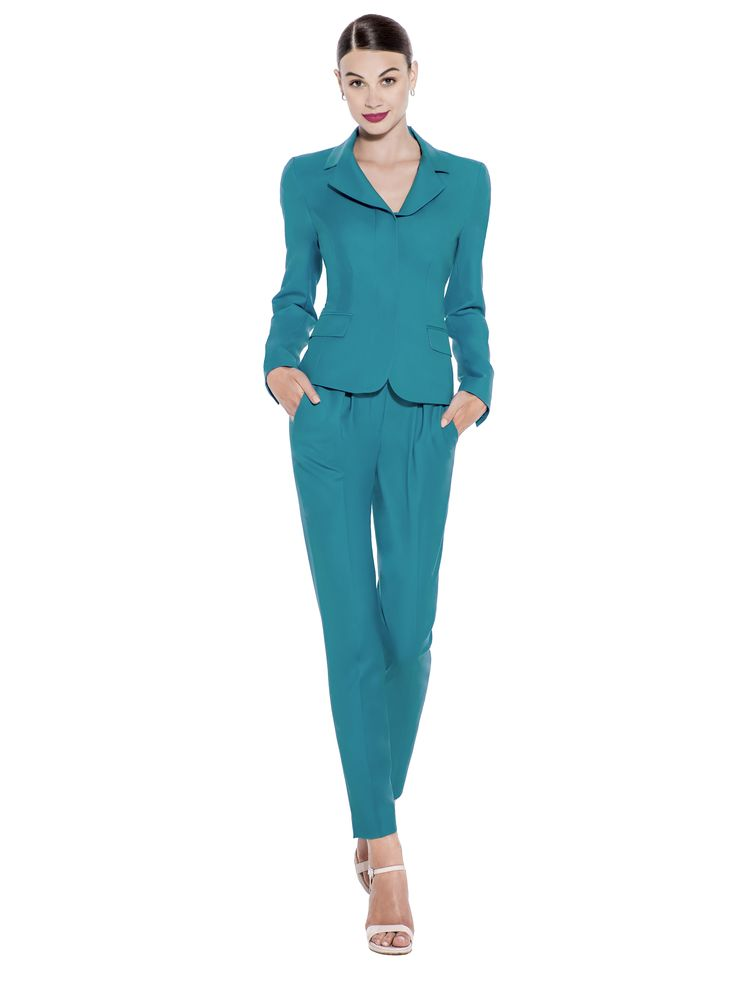 Stand out at work in this petrol colour jacket from premium quality 100% Super 130's Wool, complete with hidden buttons and front pockets. Team with matching trousers or add a belt to show off your trim waist line. Fabric imported from United Kingdom: 100% Super 130's Wool Lining imported from Germany: 57% Viscose 40% Polyimide 3% Elastane Washcare: Dry clean MADE IN EUROPE