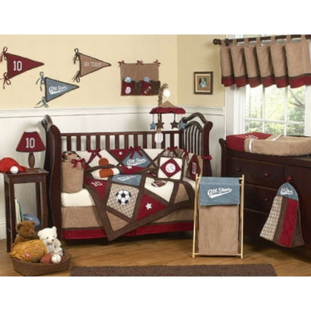 Baby boys bedroom! Love This! Definitely going to have a sports themed room, maybeee