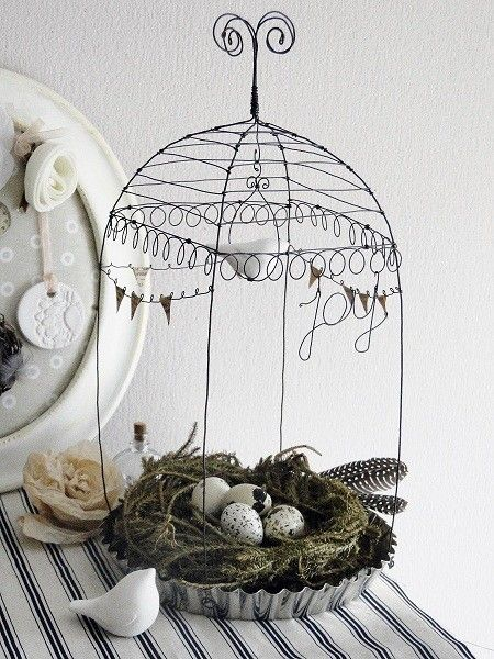 Wire cage with bird nest...