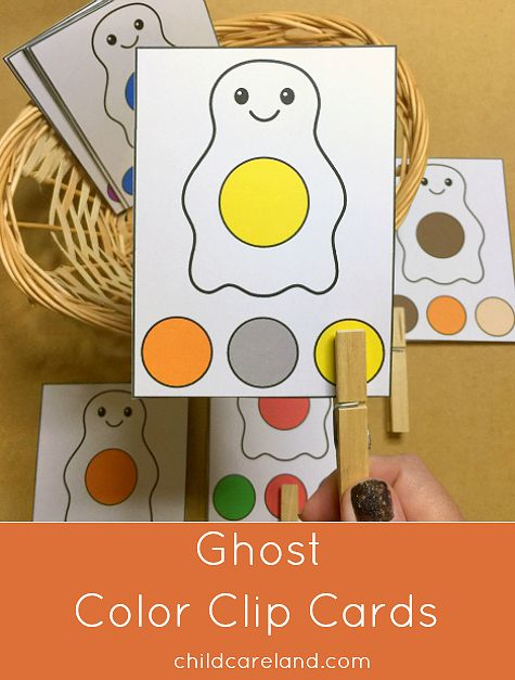Ghost color clip cards for color recognition and fine motor development.