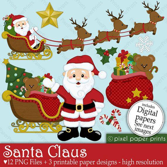 Santa Claus - Navidad - Set de Clip Art y Papeles Digitales