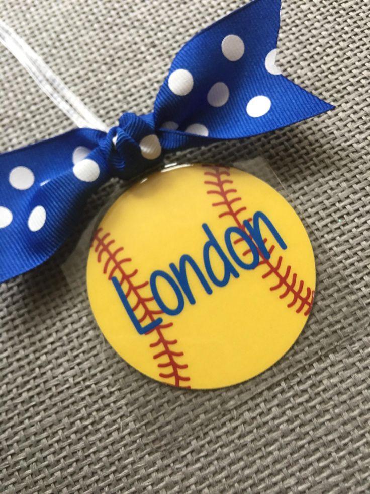 Softball Bow Bag Tag Softball Mom Gift Softball Gift Softball Team Gift Softball Party Favor Softball Gift Personalized Softball Gift Coach by Toddletags on Etsy