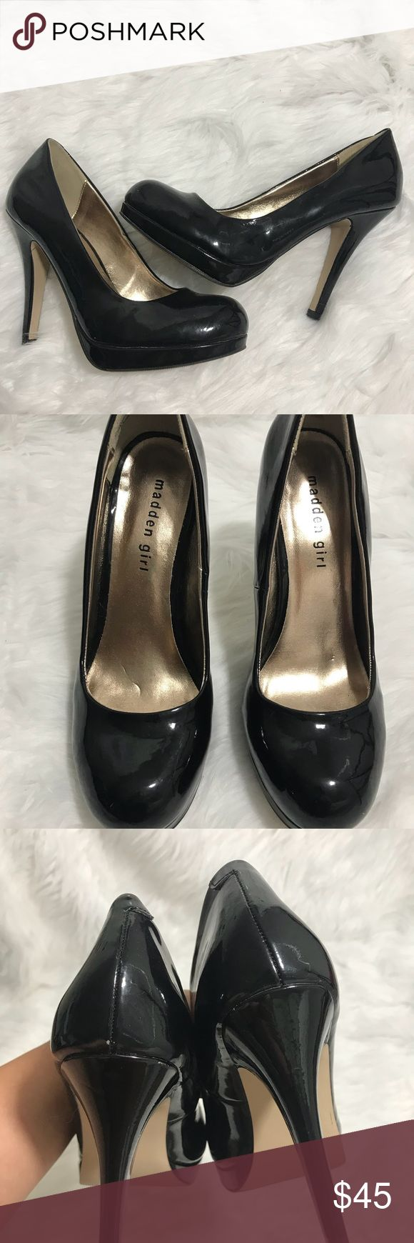"Madden girl patent pump heels Platform black vegan leather heels. Round toe. Great condition. Approx 5.5"" heel, platform.5"". Normal wear and tear . 1007 Steve Madden Shoes Heels"