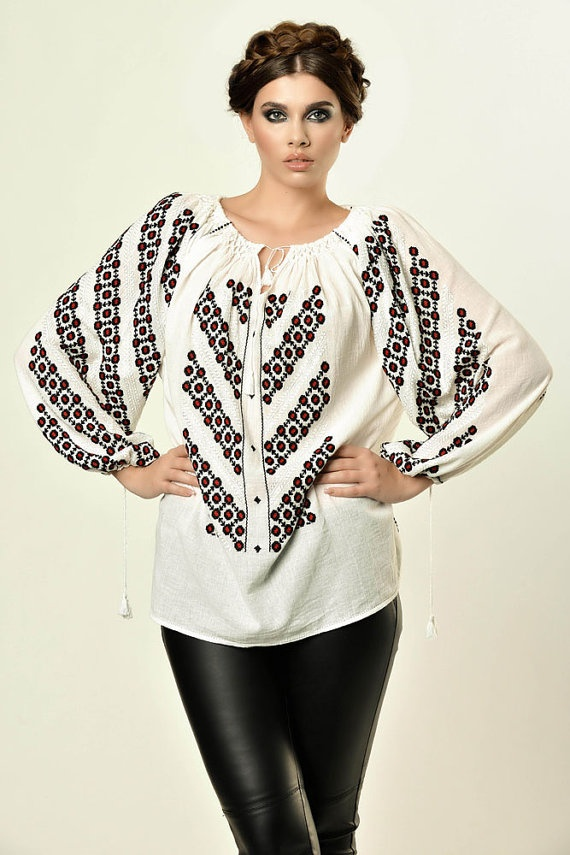 Romanian traditional blouse with long sleeves by RomanianLabel, $151.00