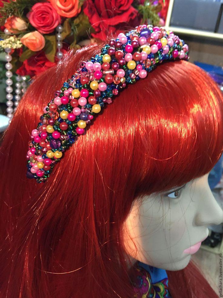 """Купить Ободок """"Конфетти"""" - ободок для волос, ободок с бусинами, обруч для волос, украшение для волос, разноцветный"""