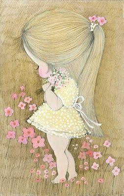 Menininha colhendo flores