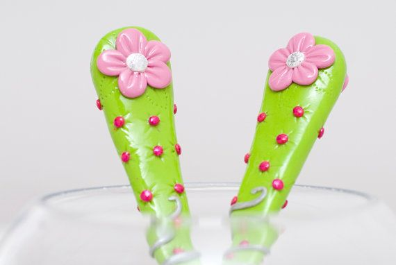 Cutlery Set Big Spoon and Fork Pink Flower in Green for Her Cute Gift Polymer clay Utensil Set