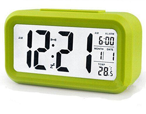 Yisidoo Grossbild Smart LED Digital Wecker mit Datum und Temperaturanzeige,Snooze Funktion,Sensorlicht LED Reisewecker(Gruen)