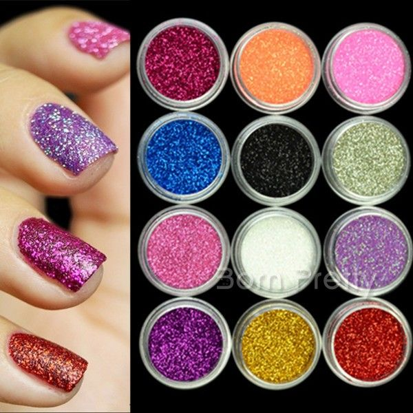 $6.14 12 Colors NAIL ART GLITTER POWDER Acrylic UV gel - BornPrettyStore.com