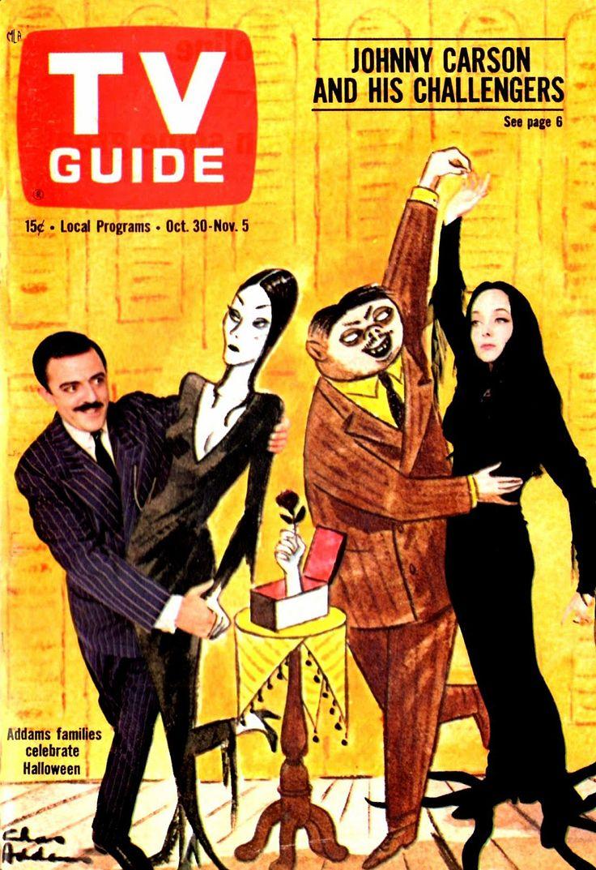 TV Guide, October 30, 1964 — John Astin & Carolyn Jones in The Addams Family
