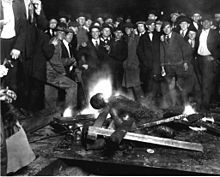 The Omaha Race Riot occurred in Omaha, Nebraska, on September 28–29, 1919. The race riot resulted in the brutal lynching of Will Brown, a black worker; the death of two white men; the attempted hanging of the mayor Edward Parsons Smith; and a public rampage by thousands of whites who set fire to the Douglas County Courthouse in downtown Omaha. It followed more than 20 race riots that occurred in major industrial cities of the United States during the Red Summer of 1919.