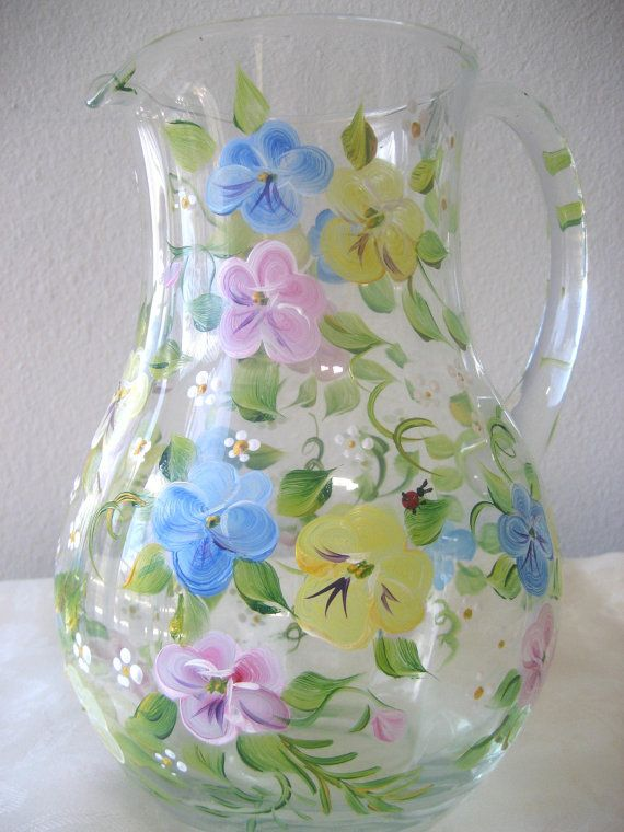 hand painted glass pitcher with pansies Mothers by TivoliGardens, $36.00