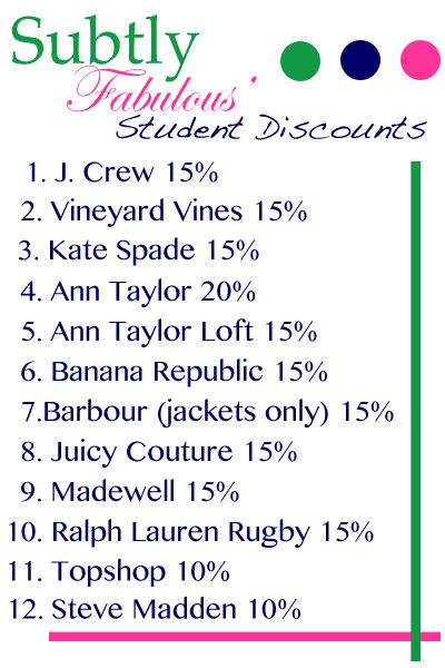 Find out the stores that offer student discounts on everything from clothing to computers to software! http://subtlyfabulous.com/2012/07/student-discounts/