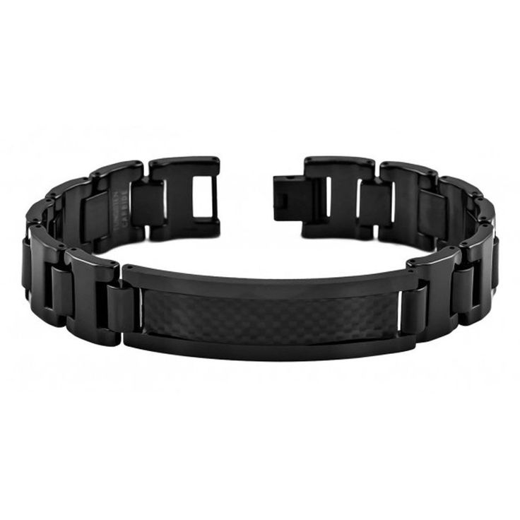 8 5 Mens Black Enamel Plated Tungsten Id Bracelet With Carbon Fiber Inlay