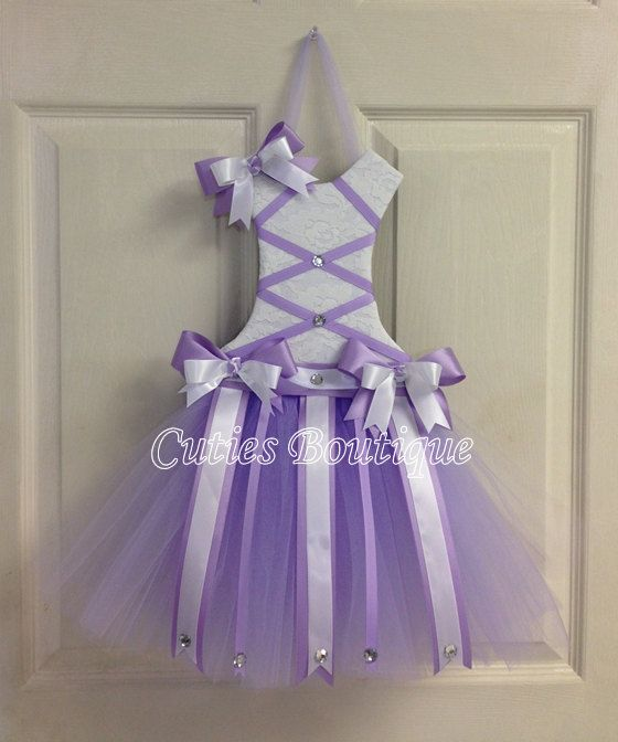 Tutu Dress Hair Bow Holder Lavender by CutiesBoutique on Etsy